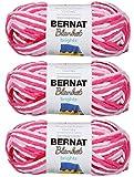 Bulk Buy: Bernat Blanket Yarn (3-Pack) Super Bulky #6 5.3 Ounce 108 Yards Per Skein (Raspberry Ribbon Varg)