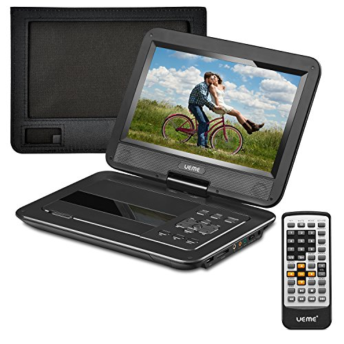 UEME DVD Player Portable with 10.1 Inch Swivel Screen, with Car Headrest Mount Holder, Remote Control, Car Charger, Power Adaptor, Built-in Rechargeable Battery, Region Free Players (Black)