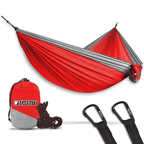 Bear Butt Double Parachute Camping Hammock, Red/Gray