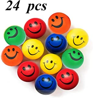 MyMagic 24 Pieces of Foam PU Happy Smiley Face Stress Balls,Stress Relief Balls, Fun Party Toys Balls
