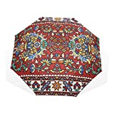 Travel Compact Umbrella Colorful Mosaic Oriental Rug Traditional Folk Windproof Compact Umbrellas Rain & Wind Resistant Compact and Lightweight for Business and Travels