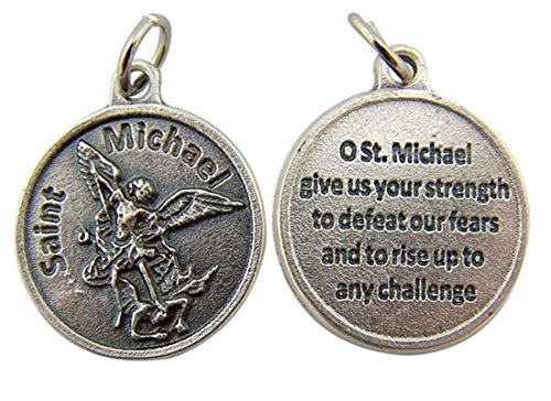 Religious Gifts Archangel Saint St Michael with Prayer Protection Medal Pendant, 3/4 Inch