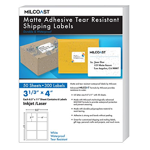 "Milcoast Matte Adhesive Tear Resistant Waterproof Shipping Labels - for Inkjet/Laser Printers, Size 3-1/3"" x 4� Each - for Shipping, FBA, Stickers, Labels, Arts, Crafts (50 Sheets)"