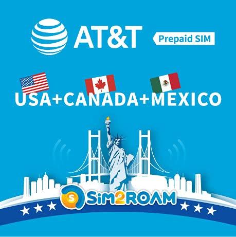 USA Messico Canada AT&T SIM Card 30 Giorni, Dati ad alta velocità illimitati, Chiamate, Testi, AT&T SIM Card US rinnovabile in Nord America