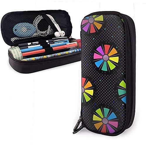 Arrière-plan Non-Seamless Pattern Floral Colors Fun Leather Pencil Case, Pencil Bag Pouch Pen Holder Stationary Case