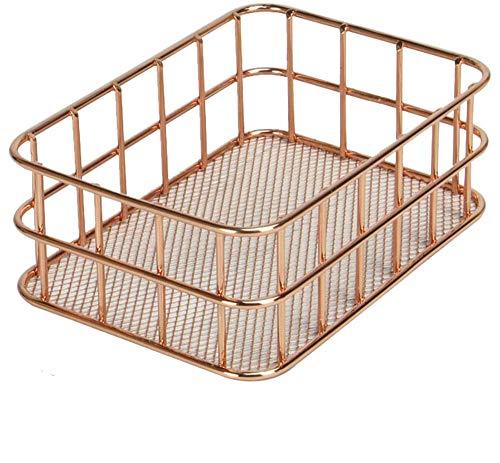 Metal Storage Baskets, Rose Gold 4 Pack Mesh Wire Basket Set Iron Hollow Makeup Brush Holder Multi Purpose Desktop Organizer (C)