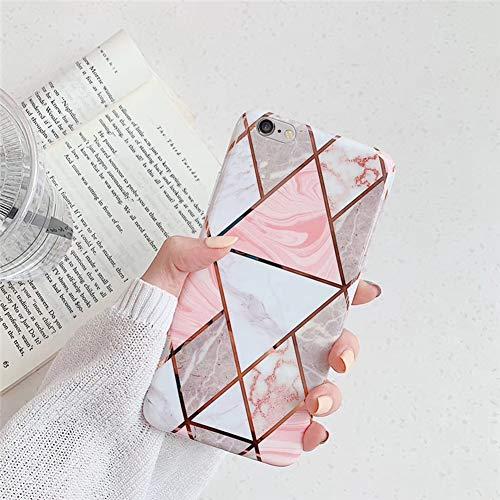 QPOLLY Compatible avec iPhone 6 Plus/6S Plus Coque, Brillante Glitter Paillettes Marbre Design Motif Ultra Mince Souple TPU Silicone Gel Bumper Housse Etui de Protection Anti-Choc Coque,Rose-3