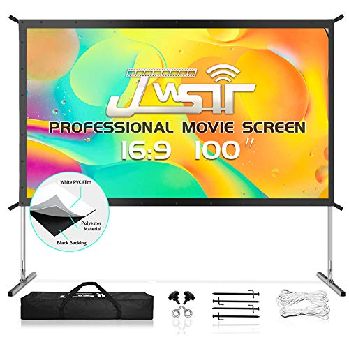 JWSIT Projector Screen with Stand, 100\' 4K HD Outdoor/Indoor Portable Projector Screen 16:9 Foldable Camping Gaming Backyard Movie, Outdoor Projector Screen White