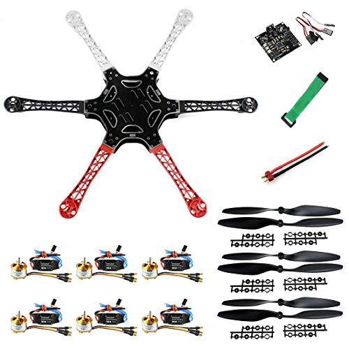 qwinout DIY F550fuselaje KKMulticopter vuelo controlador RC Hexacopter Drone PNF unassembly Combo (no mando a distancia y batería)