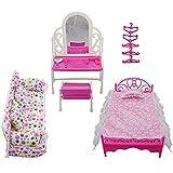 Rehomy Juego de accesorios para muebles de princesa + juego de sofá + juego de cama + perchas para dormitorio Barbie muñeca 8 artículos/lote
