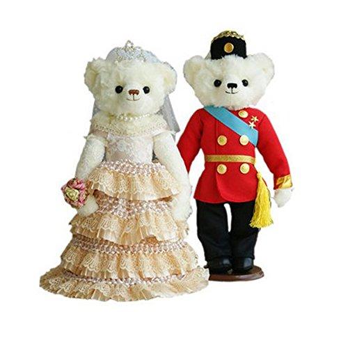 Lovely Mariage Ours mignon nounours jouet Cadeau de mariage (Dentelle Voile/rouge uniforme)