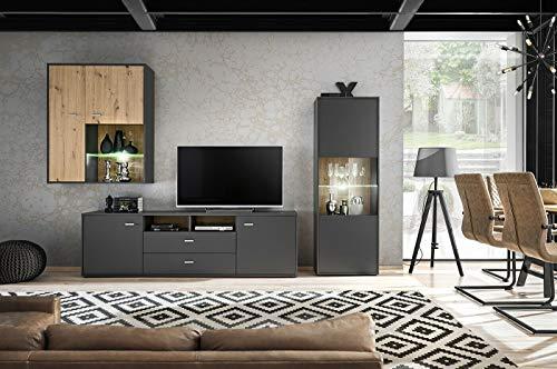 Moderne Wohnwand Mido Graphit+Eiche Artisan Schrankwand Anbauwand mit Led Beleuchtung 10