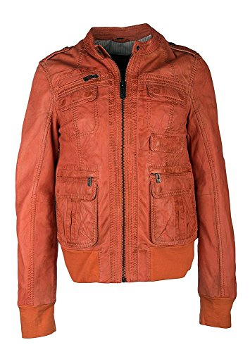 Maze Damen Lederjacke Mit Dezenten Highlights Samara S Orange