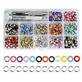 QLOUNI 360 Sets 3/16 inch 12 Colors Grommets Kit Metal Eyelets with Installation Tools for Leather Craft Making Clothing Repair and Decoration