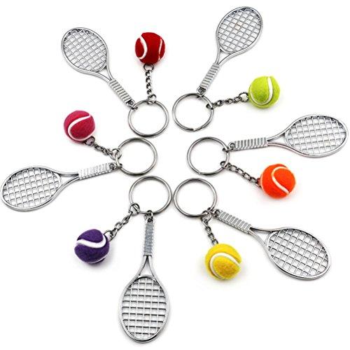 uoeo 6Stück Colorful Tennis Ball, Tennisschläger Schlüsselanhänger Sport Liebhaber Schlüsselanhänger