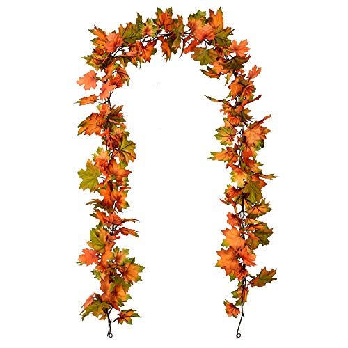 Artiflr 2 Pack Fall Maple Leaf Garland - 6.5ft/Piece Artificial Foliage Garland Autumn Hanging Fall Leave Vines for Indoor Outdoor Wedding Thanksgiving Dinner Party Decor