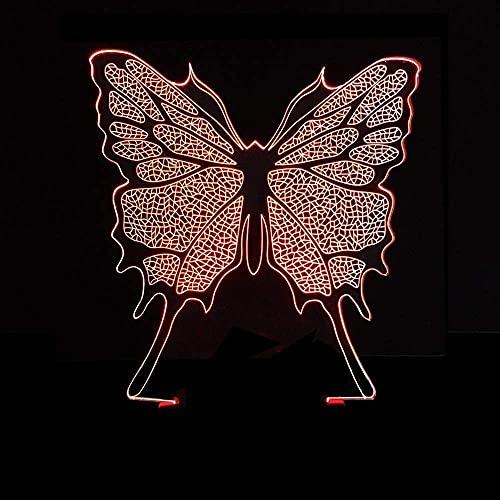 Rnwen LED Mariposa Colorida gradiente 3D estéreo Remoto USB luz Toque Luminoso Junto a la Cama decoración Creativa Escritorio Cumplea 20 * 13 cm