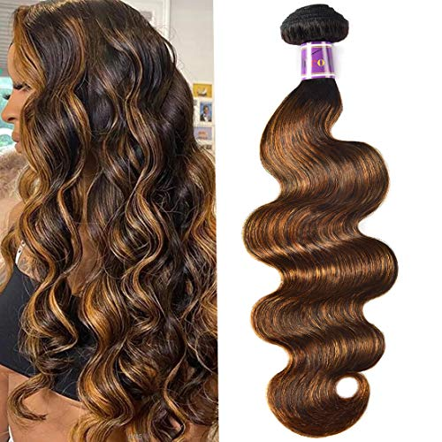 UNice Ombre Brown Highlight Body Wave Human Hair Weave 1 bundle 30 inch, Brazilian Remy Hair Dark Root Blonde Human Hair Weaves Extension Piano Color TFB30