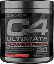 C4 Ultimate Power P6 Pre Workout Powder Cherry Pie | Sugar Free Preworkout Energy & Testosterone Booster Supplement for Men, 20 Servings