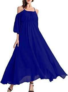 6152d3d51fc Afibi Women s Off-Shoulder Long Chiffon Casual Dress Maxi Evening Dress