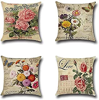 Brataa 4 Pcs Summer Throw Pillow Covers Cotton Linen Farmhouse Rose Pillowcases Square Soft Flowers Cushion Case for Sofa ...