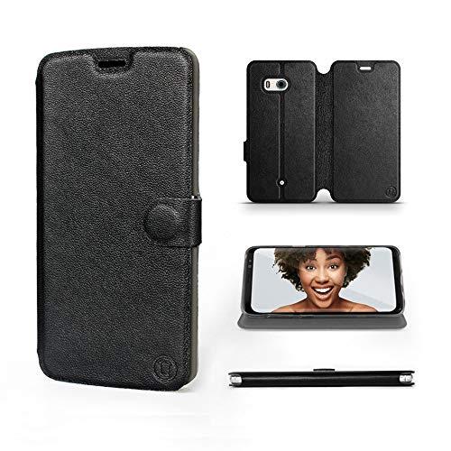 Mobiwear   Echt Lederhülle   Kompatibel mit HTC U11, Made in EU handyhülle, Slim Leather Hülle, Premium Flip Schutzhülle, Transparent TPU Silicon, Book Style, Tasche - Schwarzes Leder