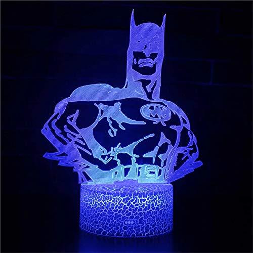 Único Bat Anime Hero Crack Base Luz de visión 3D Creativa Acrílico Multicolor LED Luz de noche LED Usb Baby Sleep Night Light