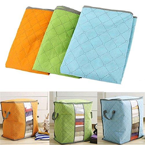 Generic Orange: Kartenlesemodul 3Farben Home Tragbarer Organizer Aufbewahrungstasche Box nicht-gewebte Unterbett Tasche Aufbewahrungsbox Bambus Kleidung Aufbewahrung Tasche