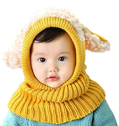 SoulBest Sciarpa Lavorata a Maglia Calda per Bambina da Bambino Invernale Cappello da Sciarpa per Cani con paraorecchie Lavorato a Maglia a Maglia Autunno e Inverno per Bambini Unisex (Giallo)