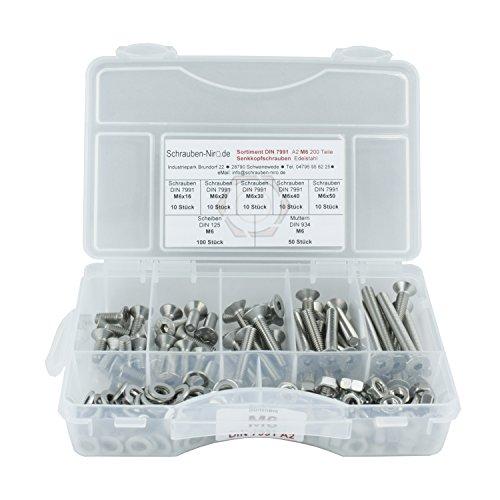 Sortiment DIN 7991 / ISO 10642 Edelstahl A2 Durchmesser M6, 200 Teile ; Senkkopfschrauben/Innensechskantschrauben, Material VA V2A