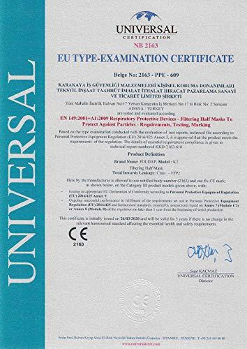 FFP2 Maske ohne Ventil ◆ Atemschutzmaske Staubmaske Mundschutzmaske ◆ CE 2163 EN149 zertifiziert ◆ 10 Stück - 5