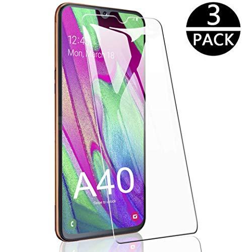 Flysee Vetro Temperato per Samsung Galaxy A40, [3-Pack] Pellicola Protettiva per Samsung Galaxy A40 [Custodia Compatible, Senza Bolle, HD Chiaro, 9H Durezza, Anti-Graffio]