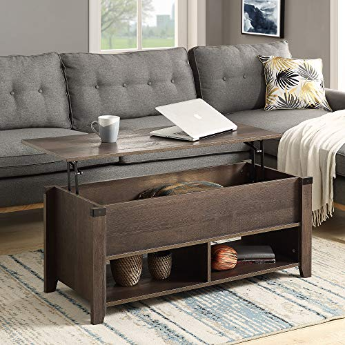 DANGRUUT Best Wood Lift Top Coffee Table Farmhouse Style with Hidden Storage Compartment and Open Shelf, Modern Rustic Lift Tabletop Storage End Table Center Table for Living Room Office (Old Wood)
