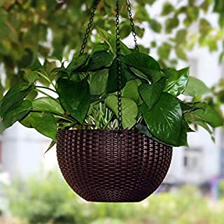 Antier 1 Pcs Hanging Baskets Rattan Waven Flower Pot Plant Pot with Hanging Chain for Houseplants Garden Balcony Decoratio...