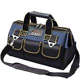 AIRAJ 36×21×26cm Werkzeugtasche mit verstellbarem Schultergurt, Hochleistungswerkzeug-Aufbewahrungstasche Mit 14 Mehrfach-Taschen und einem oberen Mund/Doppelreißverschluss (blau und schwarz)