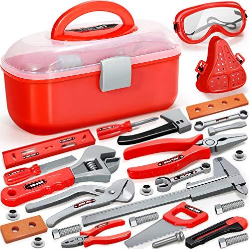 GeyiieTOYS Werkzeugkoffer Werkzeug Kinder Spielzeug Werkzeugkasten Handwerker Set Spielwerkzeug Geschenk ab 3 Jahre, 27 Stück