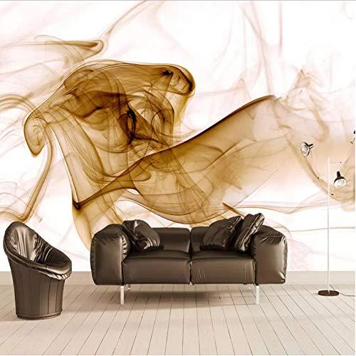 Pbbzl fotobehang, modern, modieus, abstract, goudkleurig, rook, 3D-kunst, muurschildering, woonkamer, sofa, tv, achtergrond, fotopapier 400 x 280 cm