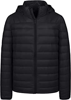 Wantdo Men`s Packable Down Jacket Lightweight Winter Coat with Removable Hood
