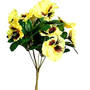 Silk Flower Arrangements Ximkee Artificial Pansy Flowers for Home Office Decoration-(1pcs Yellow)