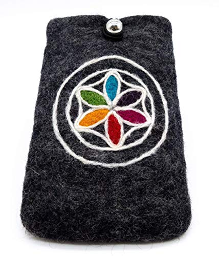 feelz - Schutzhülle Täschchen für Handy aus Filz 15x10cm Blume des Lebens Handyhülle i-phone Hülle Smartphone - Fairtrade