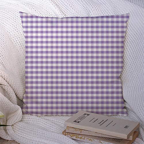Decorative Pillow Covers Polyester Violet Gingham Old Checkered Baby Fashioned Check Pastel Home Texture Lavender Abstract Textures Cushion Throw Pillow Case for Couch Home Car Decor 18x18 Inch