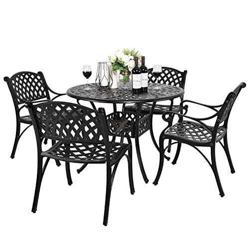 Nuu Garden 5 Piece Outdoor Patio Cast Aluminum Dining Set, Outdoor Conversation Furniture Set of 5, 4 Dining Chairs, 42'' Round Bistro Table with Umbrella Hole, Antique Bronze