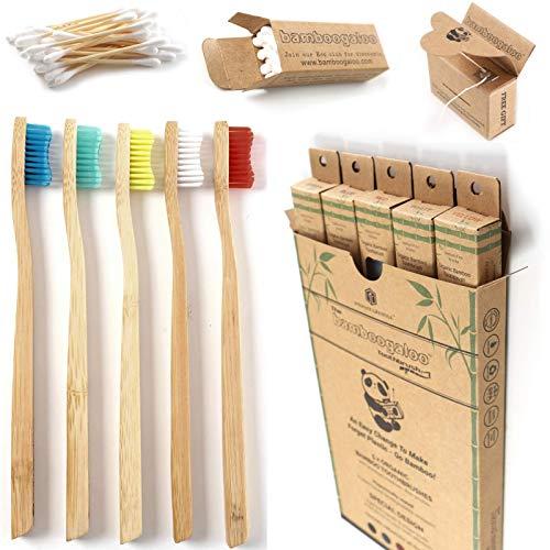 BAMBOOGALOO Cepillo de Dientes Orgánico Bambú x5 -Cepillos de Dientes de Bambú con GRATIS Bastoncillos de Bambú y Hilo Dental. Ecológico, Biodegradables y Sin Plástico Embalaje. Cerdas Medio/Firmes.