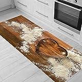 Alfombra de cocina de grano de madera, alfombra para puerta, alfombra para piso de entrada, alfombra de cocina con forma de corazón para sala de estar, alfombra de pasillo antideslizante A3 50x80cm