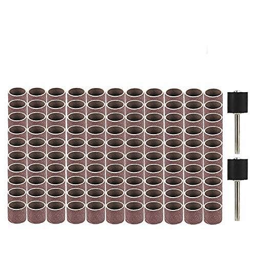 Kit de tambor de lijado de 12,7 mm, bandas de lijado de grano 80-120 para herramientas rotativas Dremel, removedor de esmalte acrílico para disco de lijado de uñas, grano 80, 11 piezas