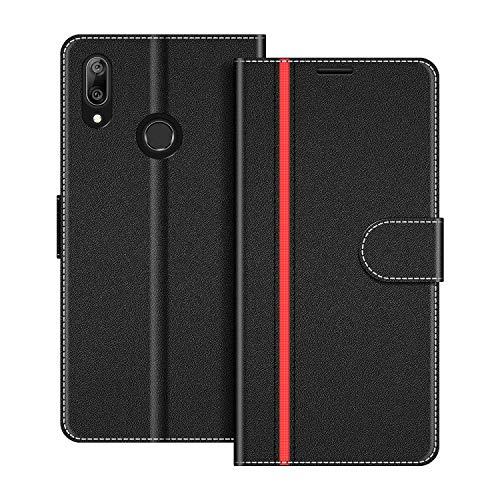 COODIO Handyhülle für Huawei Y7 2019 Handy Hülle, Huawei Y7 2019 Hülle Leder Handytasche für Huawei Y7 2019 Klapphülle Tasche, Schwarz/Rot