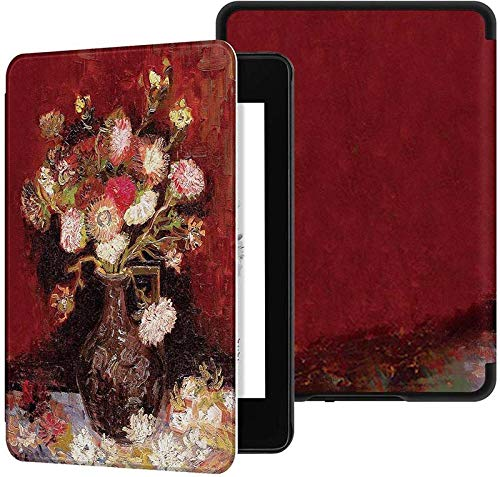 Hoesje voor Kindle Paperwhite 2018 Smart Cover Met Auto Wake/Sleep Past op Amazon All-New Kindle Paperwhite 4 cover (10e Gen-2018) Rode vaas