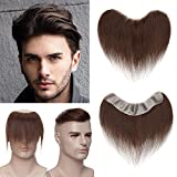 SEGO Men's Toupee Hairline 100% Human Hair Piece V-Shape Mens Topper Hairpiece PU Thin Skin System Virgin Natural Hairline Replacement (Base Size:1.5'x7',Hair:6' Long) -Dark Brown