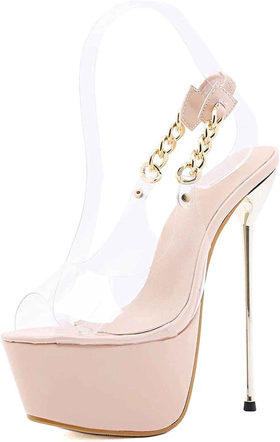 BeAUZQ Women's Cheap mail order sales Open Toe Platform Fash Summer Clear Pumps Sandals SEAL limited product