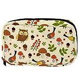 Bolsas de cosméticos con diseño de búho, pájaros y setas, práctica bolsa de viaje para mujeres y niñas